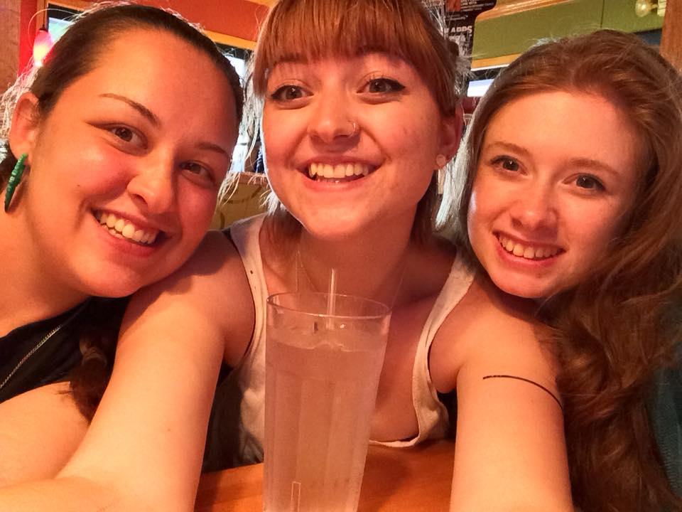 Sarah, Bree, and me at a restaurant.