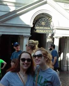 Bree and me in front of Gringotts Bank at Harry Potter World in Orlando.